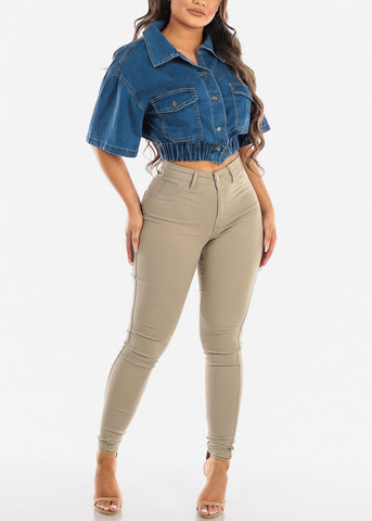 Image of High Waisted Khaki Jegging Skinny Pants