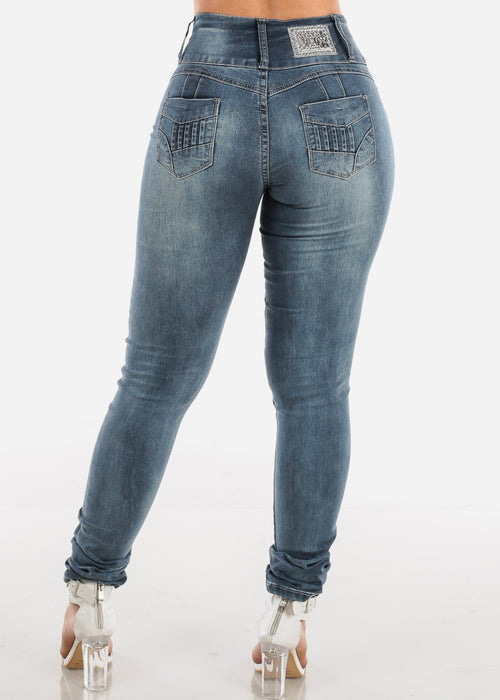 Sexy Butt Lifting Levanta Cola 3 Button Dark Grey Wash Mid Rise Skinny Jeans