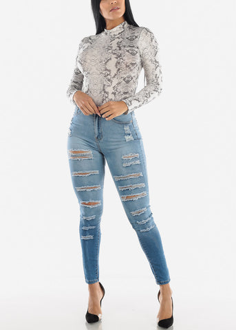 High Rise Double Sided Torn Light Skinny Jeans