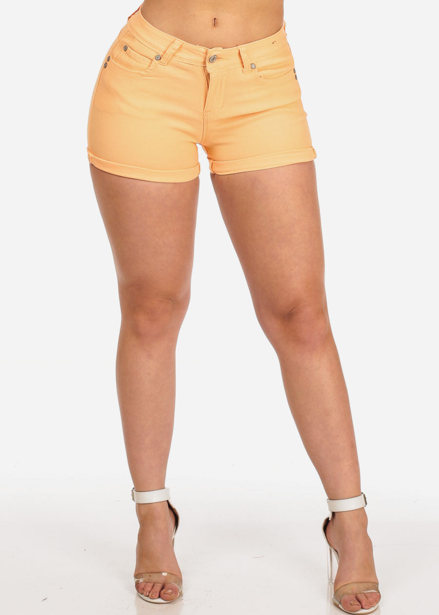 Women's Junior Summer Spring New Trendy Stretchy Low Rise Below The Waist Orange Booty Levanta Cola Butt Lifting Short Shorts