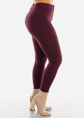 Image of High Waisted Plum Jegging Skinny Pants