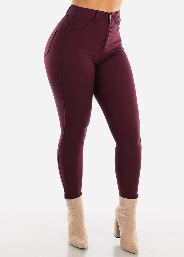High Waisted Plum Jegging Skinny Pants