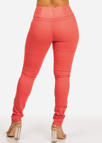 Image of Ultra High Waist Skinny Leg Coral Jeans