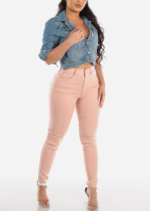 Butt Lifting Super Stretchy Blush Skinny Jeans