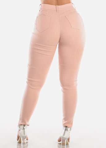 Butt Lifting Levanta Cola 1 Button Blush High Waisted Super Stretchy Skinny Jeans For Women Ladies Junior