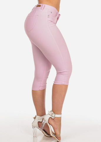 Image of Women's Junior Summer Stretchy Solid Color Super Stretchy Trendy Low Rise Pink Booty Lifting Levanta Cola Cuffed Uncuffed Capris