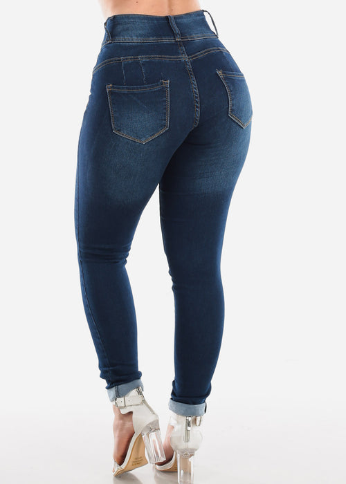 High Waisted Butt Lifting Levanta Cola Colombian Design 3 Button Dark Wash Skinny Jeans For Women Ladies Junior