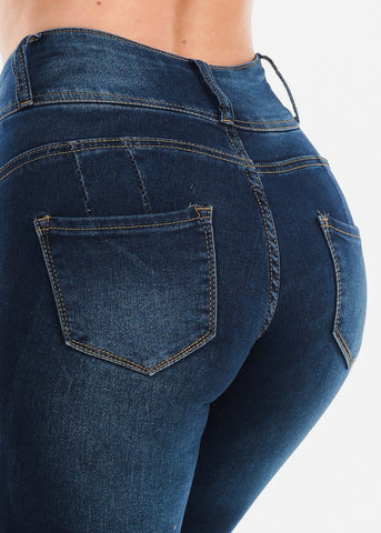 Image of High Waisted Butt Lifting Levanta Cola Colombian Design 3 Button Dark Wash Skinny Jeans For Women Ladies Junior