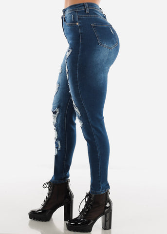 Image of High Rise Dark Blue Wash Torn Skinny Jeans