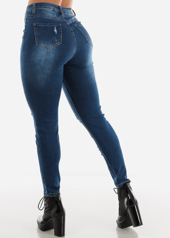 High Rise Dark Blue Wash Torn Skinny Jeans