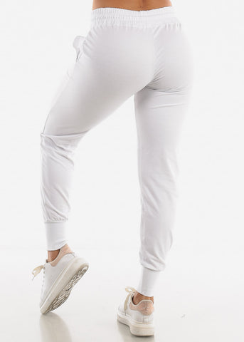 High Rise White Joggers