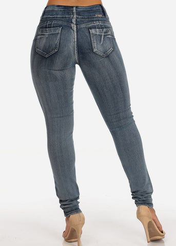 Mid Rise Levanta Cola Acid Wash 3 Button Skinny Jeans