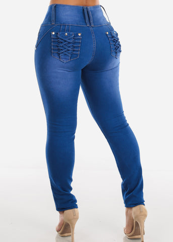 Image of Braided Pocket Butt Lifting Blue Skinny Jeans