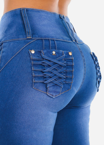 Braided Pocket Butt Lifting Blue Skinny Jeans