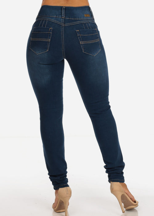 Colombian Design 3 Button Mid Rise Med Wash Skinny Jeans