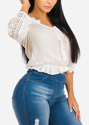 Image of Lightweight White Ruffle Top