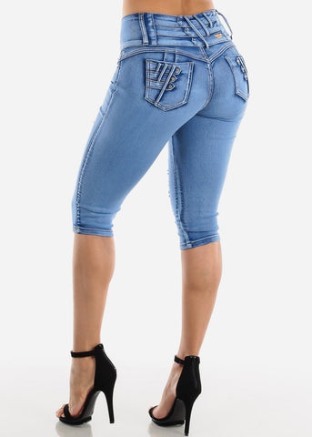 Image of Blue Wash Torn Butt Lifting Denim Capris