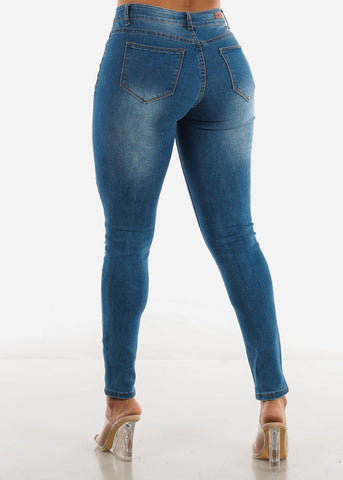 Image of Blue Mid Rise Ripped Jeans