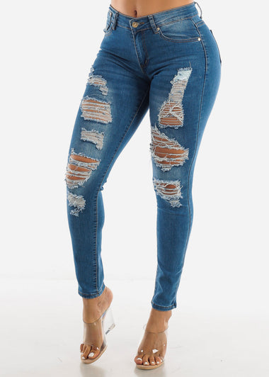 Blue Mid Rise Ripped Jeans