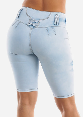 Image of Light Acid Wash Butt Lifting Denim Bermuda Shorts