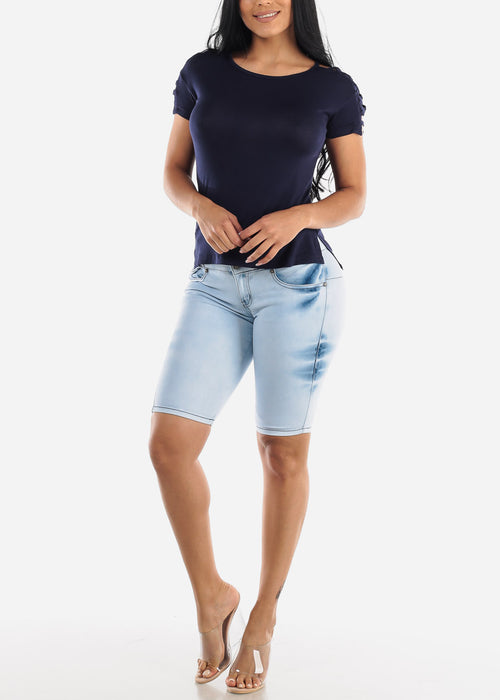 Light Acid Wash Butt Lifting Denim Bermuda Shorts