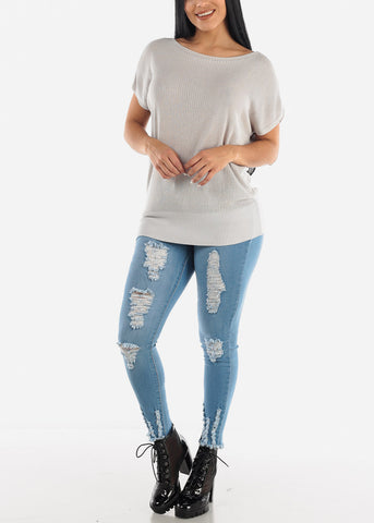 Image of Light Blue Wash Ripped Skinny Jeans