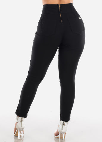 High Waisted Super Stretchy Solid Black Skinny Jeans For Women Junior