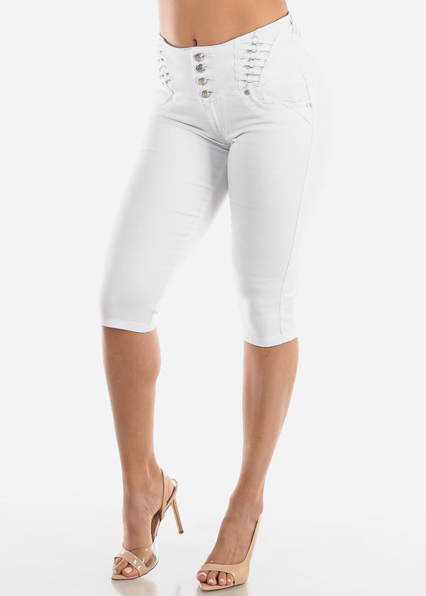 High Rise Butt Lifting White Denim Capris