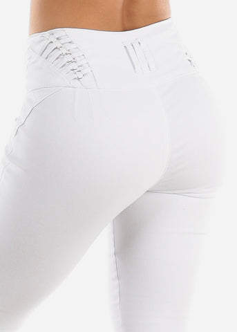 Image of High Rise Butt Lifting White Denim Capris