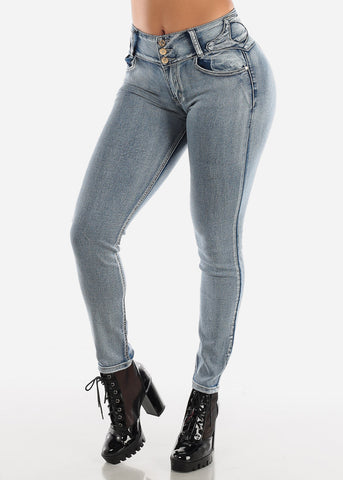 Levanta Cola Faded Wash Skinny Jeans