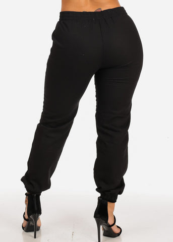 Image of High Rise Black Skinny Linen Pants