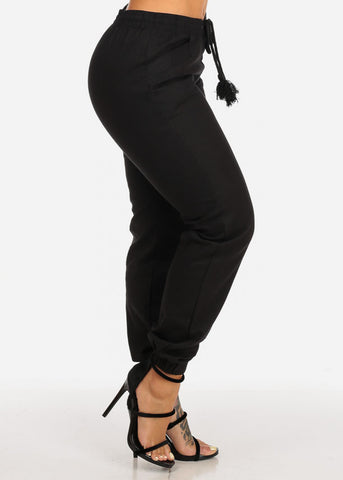 High Rise Black Skinny Linen Pants