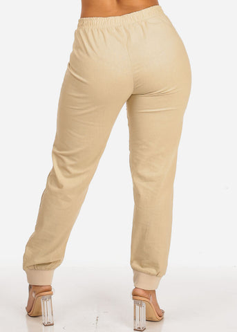 Beige High Rise Linen Pants