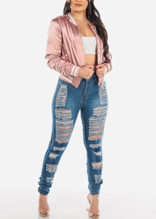 High Waisted Torn Med Wash Skinny Jeans