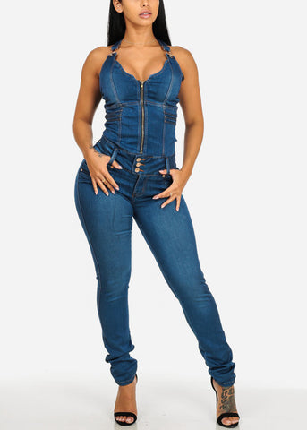 Image of Med Wash Sleeveless Zip Up Slim Fit Button Butt Lifiting Ruched Back Skinny Leg Denim Jumpsuit