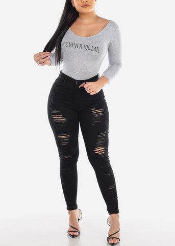 Image of Torn High Rise Black Skinny Jeans