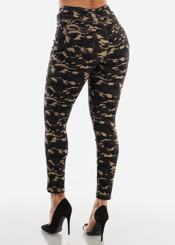 Drawstring Waist Camouflage Skinny Pants