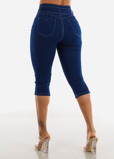 Butt Lifting Dark Blue Capris