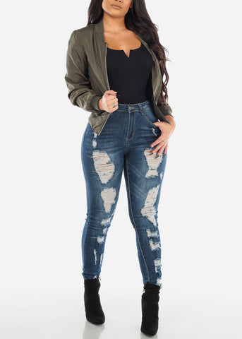 Image of Two Sided Distressed Skinny Jeans