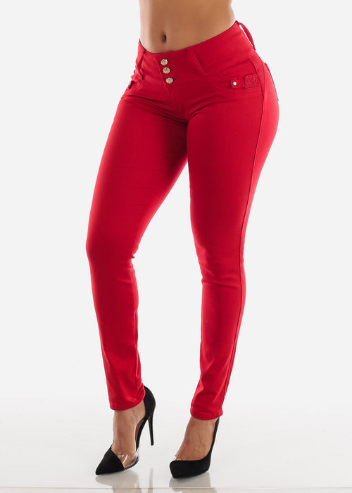 Butt Lifting Red Skinny Jeans
