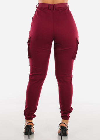 Image of High Rise Burgundy Cargo Jogger Pants