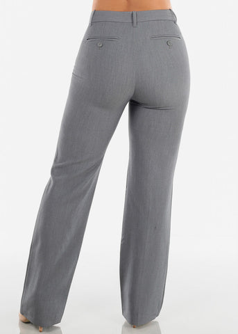 Women's Petite High Waisted Grey Dressy Pants For Office Professional Business Career Wear