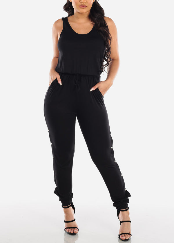 Trendy Snap Closure Detail Black Jumpsuit