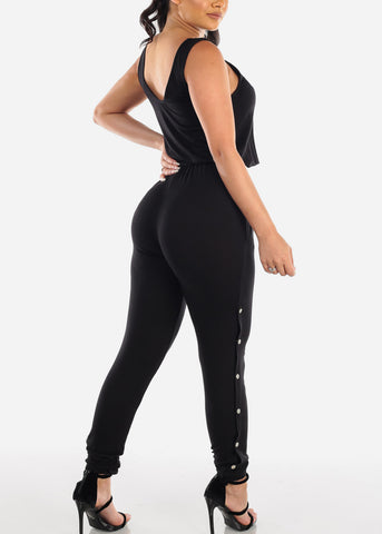 Image of Sexy Trendy Solid Black Sleeveless Jumper Jumpsuit With Side Snap Closure For Women Ladies Junior 2019 Miami Style Fashion