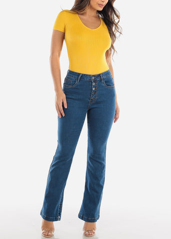 Image of Medium Wash High Rise Flare Jeans