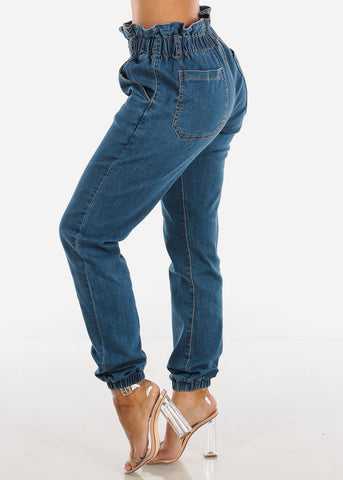 Ruffled Waist High Rise Denim Jogger