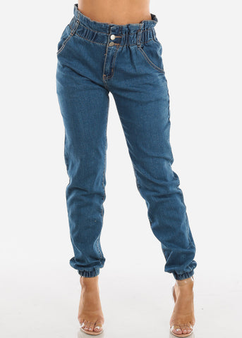 Image of Ruffled Waist High Rise Denim Jogger
