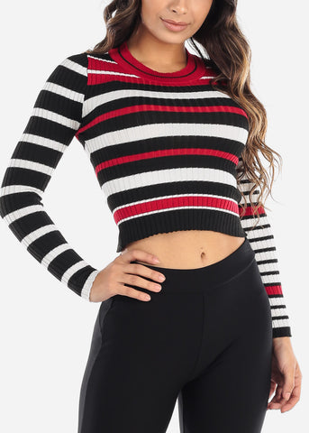 Red & Black Striped Sweater