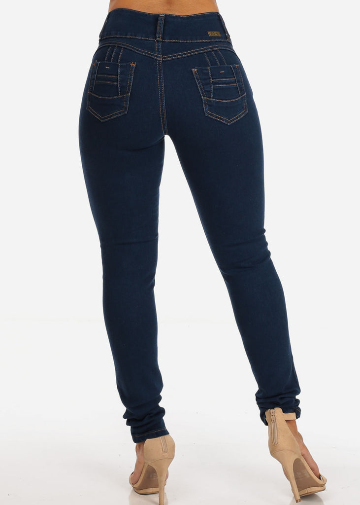 Colombian Design Butt Lifting 3 Button Med Wash Skinny Jeans