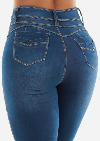 Image of Med Blue Levanta Cola Skinny Jeans